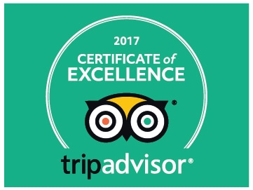 2017 TripAdvisor award winner Certificate of Excellence