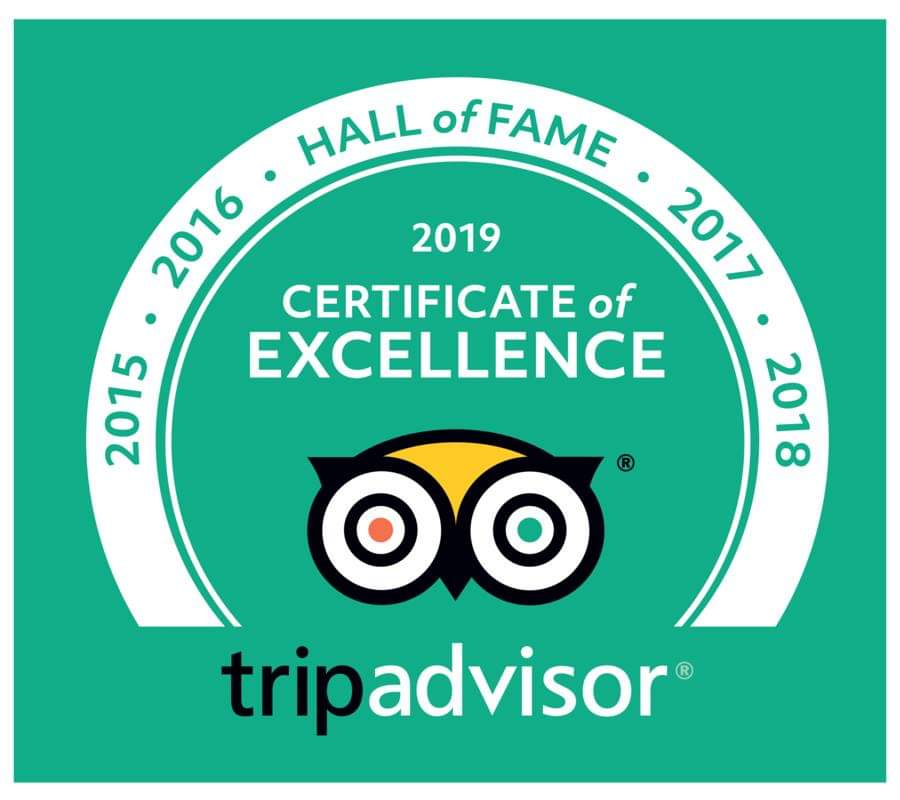 2019 TripAdvisor award Certificate of Excellence and Hall of Fame for 5 years of excellent TripAdvisor reviews